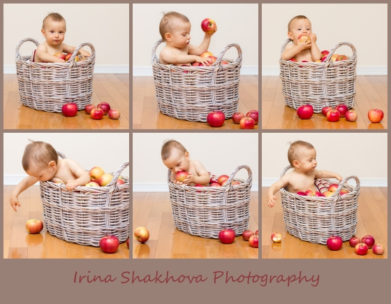 Baby in the basket of apples